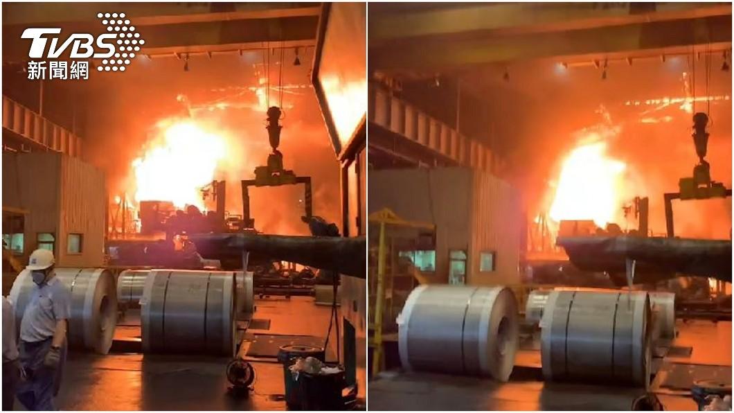 高雄燁聯鋼鐵「油桶爆炸」 深夜竄火消防灌救