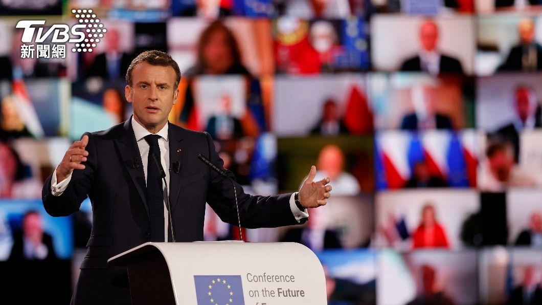 法國總統馬克洪。(圖/達志影像美聯社) 歐洲未來論壇啟動 馬克洪批威權政體挑戰民主