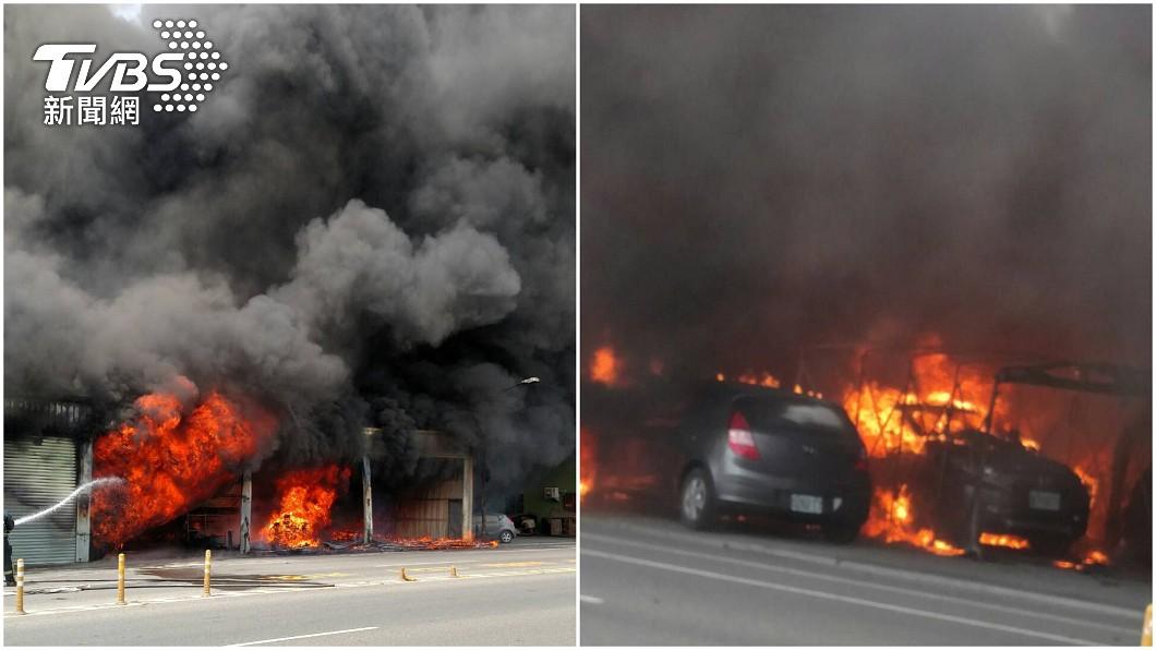 溪湖沙發工廠大火。(圖/TVBS) 彰化沙發工廠竄火黑煙遮天 3人受傷急送醫