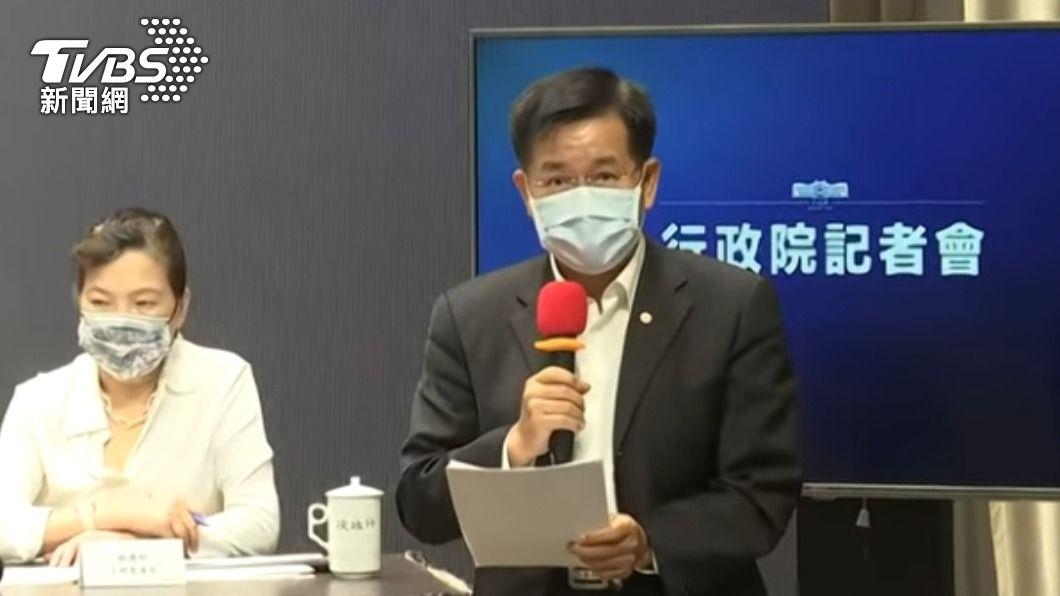 行政院記者會。(圖/TVBS) 國中會考照常舉行 今55人「有症狀」至備用考場應試