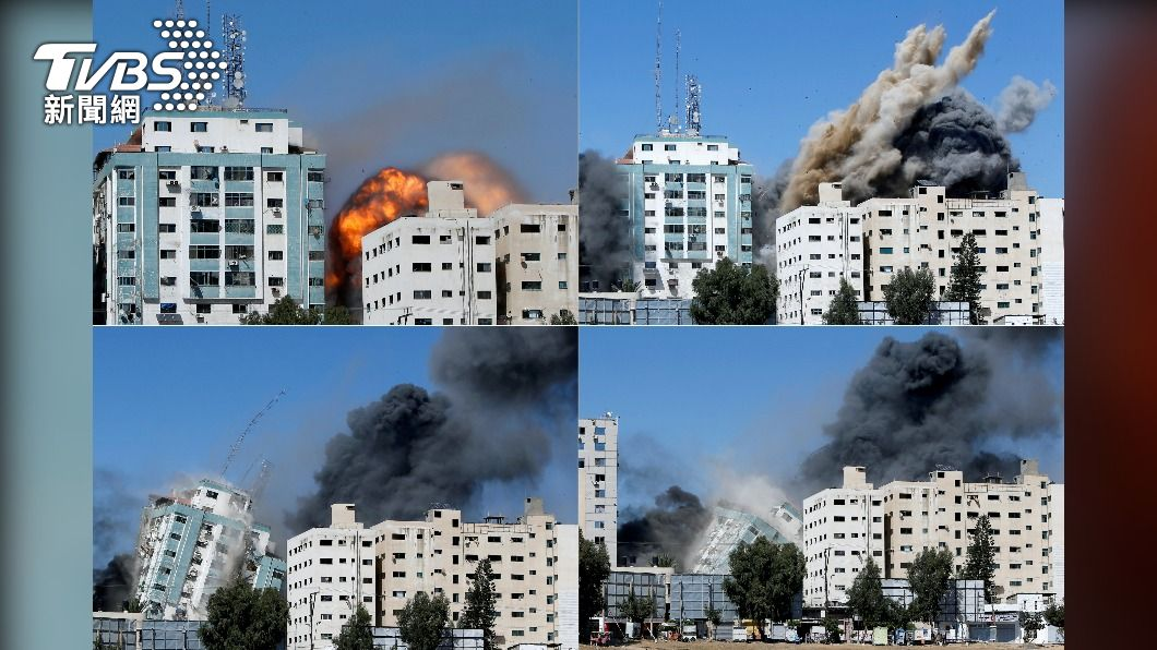 圖/達志影像路透社 以色列飛彈攻擊 美聯社半島電視台大樓倒塌