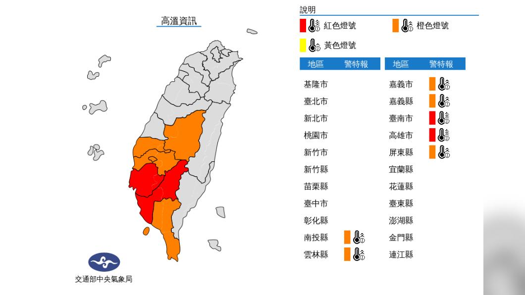 圖/中央氣象局 周二午後水氣增多!台東豪雨特報 中南部高溫燈號警示