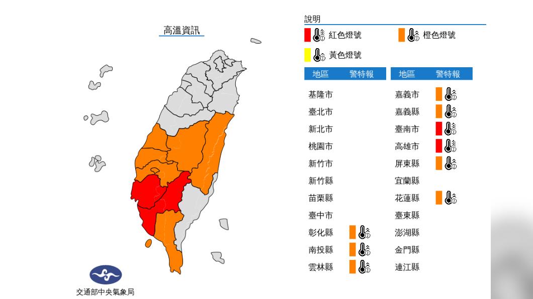 圖/中央氣象局 北部東北部留意午後雷陣雨突襲 中南部高溫防中暑