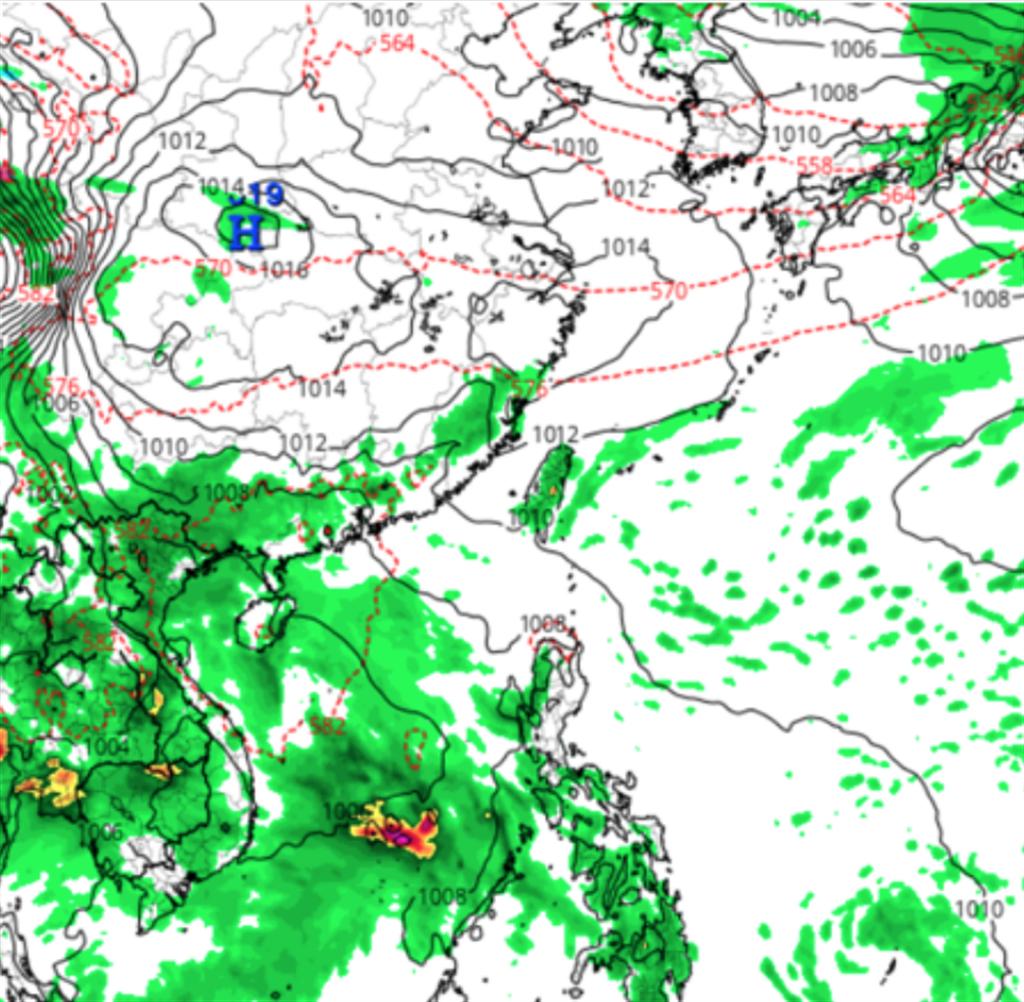 美國模式則模擬下週台灣附近受台海熱帶擾動影響,鋒面微弱。(圖/翻攝自tropical tidbits) 梅雨季來了!鋒面襲台時間曝 有望「劇烈降雨」解渴