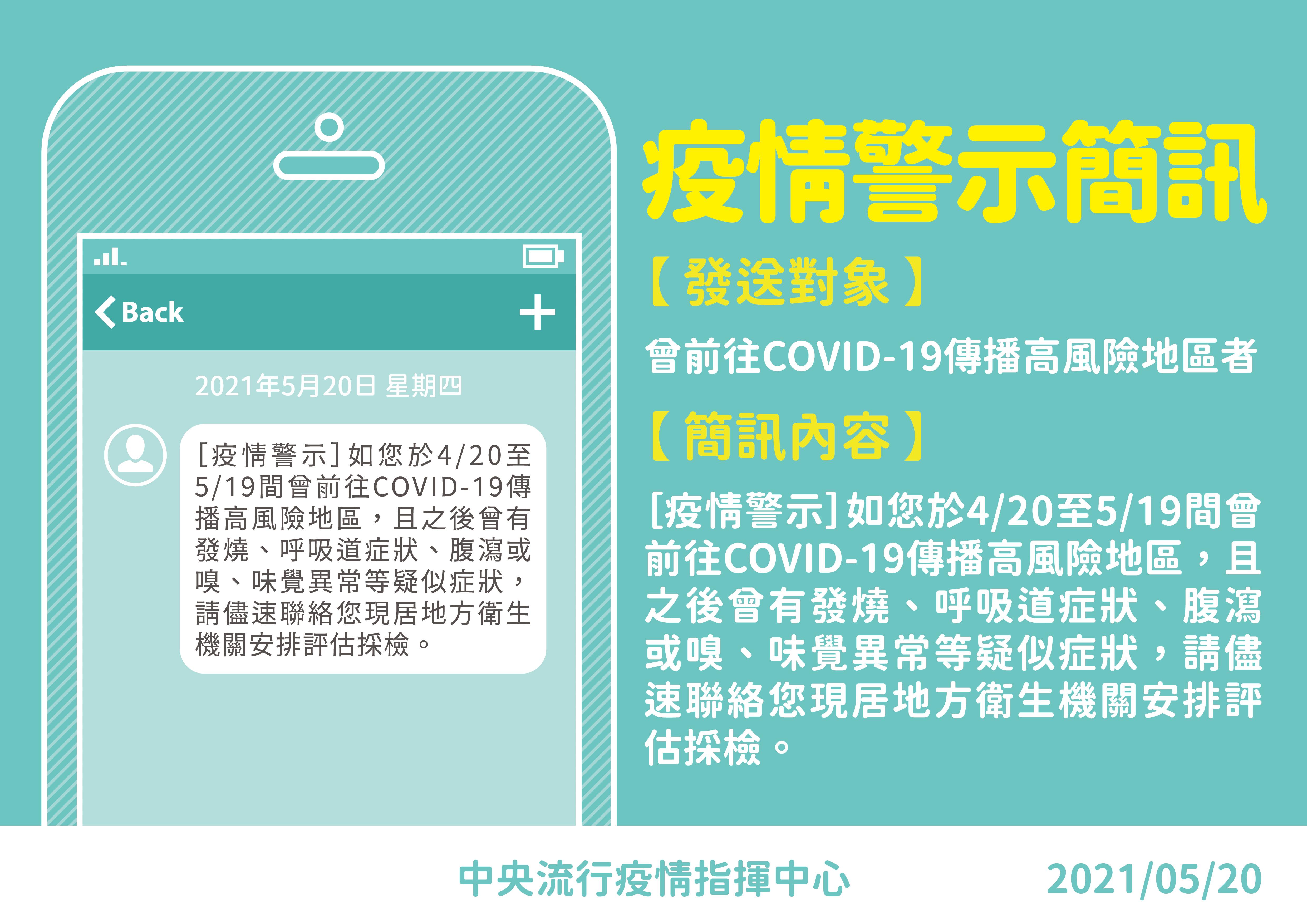疫情警示簡訊下午將發送。(圖/指揮中心提供) 「疫情警示簡訊」15時發送!這段時間去過高風險區注意