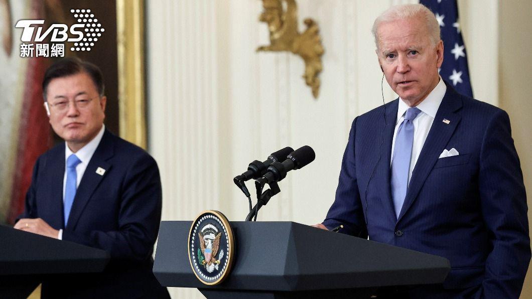 美國總統拜登與韓國總統文在寅舉行雙邊領袖會談。(圖/達志影像路透社) 拜登、文在寅峰會 談維持台海和平穩定