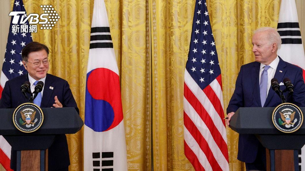 美韓兩國總統舉行高峰會。(圖/達志影像路透社) 觀點/美韓共同聲明維持台海穩定 他:拜登薑是老的辣