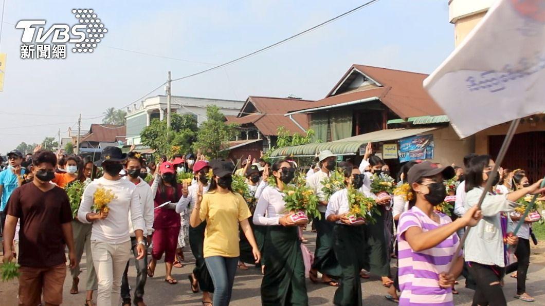 緬甸日前爆發軍事政變,人民上街遊行抗議。(圖/達志影像路透社) 緬甸開學在即 逾12.5萬反政變教師遭軍方停職
