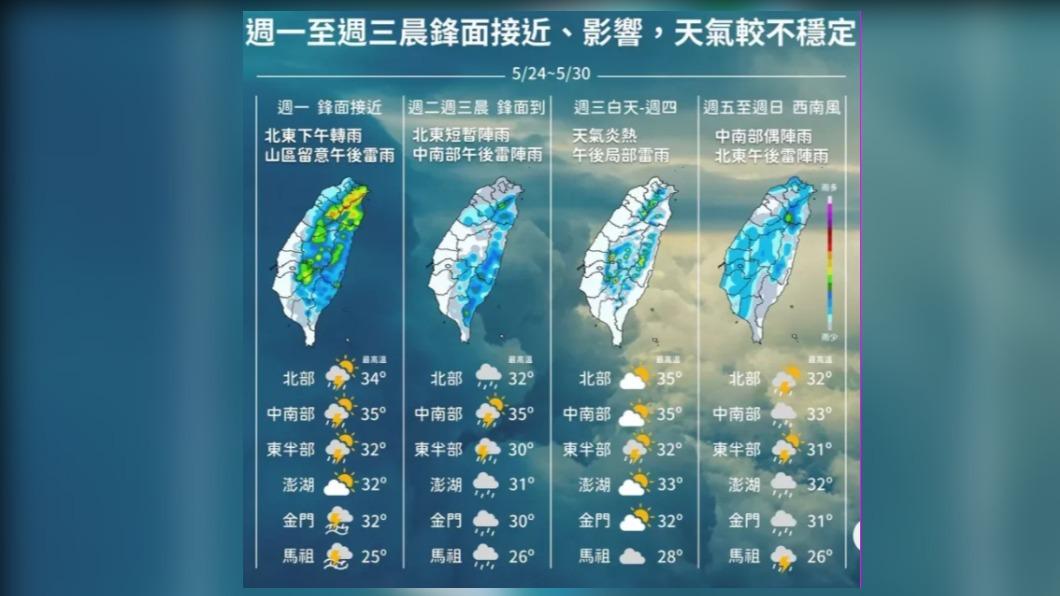圖/中央氣象局 雨神同行!本週2道梅雨鋒面滯留 盼解除旱象