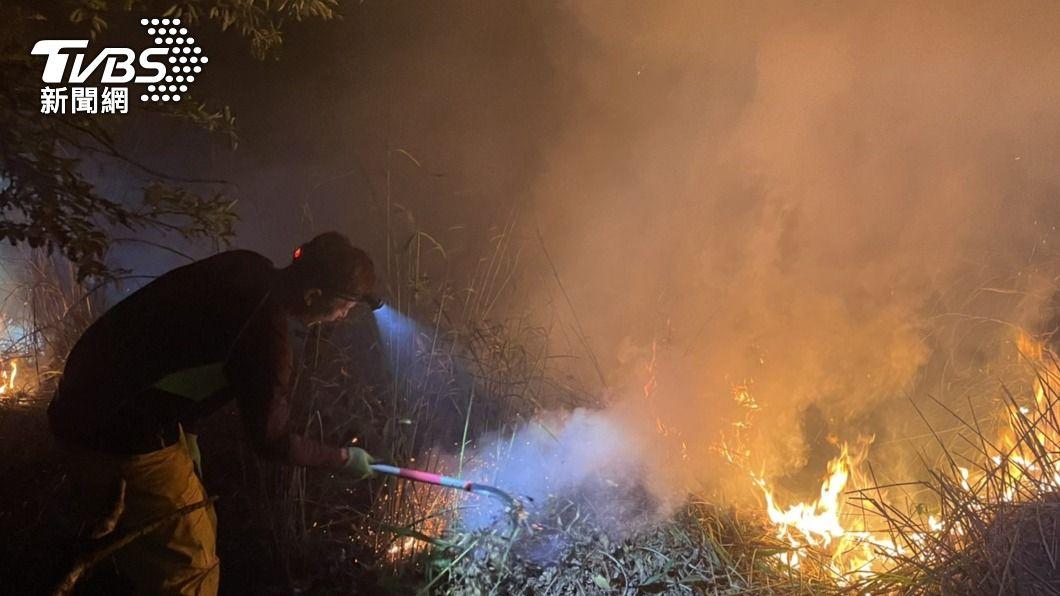 馬崙山發生森林火警。(圖/中央社) 馬崙山森林火警持續延燒 6天逾5.4公頃