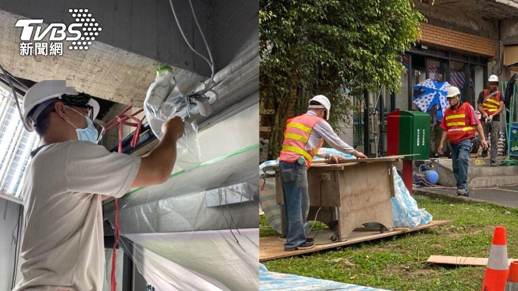 工人在施工地飲食,卻遭路人指責為「防疫破口」。(圖/TVBS) 躲路邊「脫口罩吃飯」遭嗆 工人吐心酸:像過街老鼠