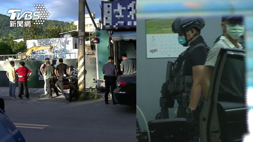 員警於士林地院周圍逮捕毒犯。(圖/TVBS) 士林地院外驚傳槍響! 檢警持衝鋒槍逮人