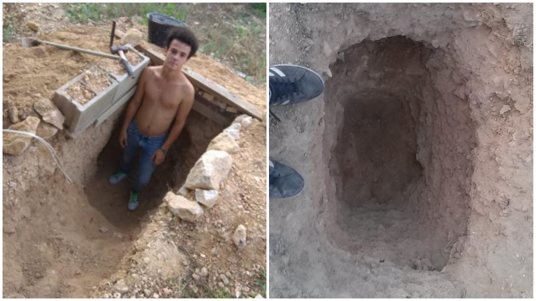 西班牙一名少年6年前和父母大吵後,就在自家後院挖地洞。(圖/翻攝自推特) 和父母大吵!叛逆哥挖地洞洩憤 6年後驚成「豪華碉堡」
