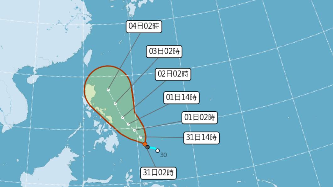 三號颱風「彩雲」路徑。(圖/中央氣象局)