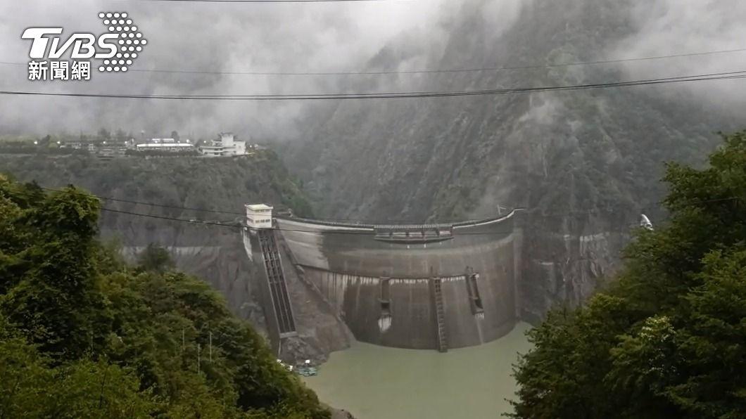 德基水庫水位上升。(圖/中央社) 德基水庫水位升逾3公尺 估進帳大台中2天用水量