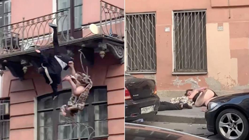 俄羅斯夫婦打架打到墜樓送醫。(合成圖/翻攝自Metro) 夫婦扭打撞破陽台墜樓! 狼狽妻「來不及穿衣」先送醫