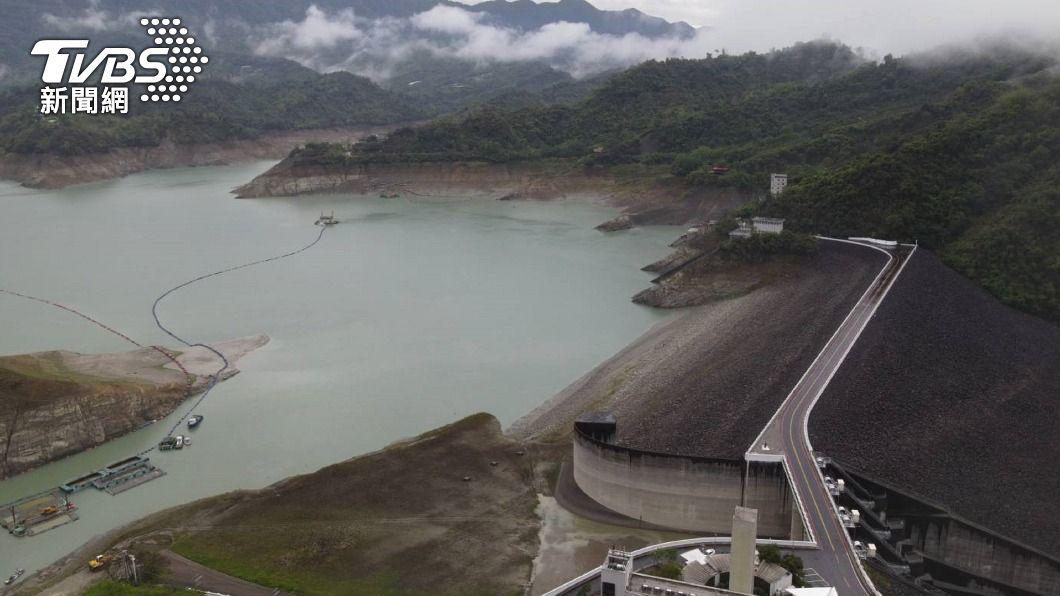 曾文水庫蓄水量增加。(圖/中央社) 鋒面降雨挹注 台南水庫估增2週用水