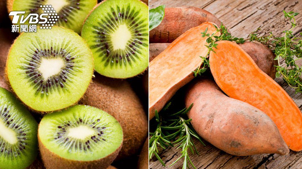 地瓜、奇異果均為可久放的主食與水果,且富含營養。(示意圖/shutterstock達志影像) 防疫買菜不踩雷! 營養師曝6大耐放食材增免疫力