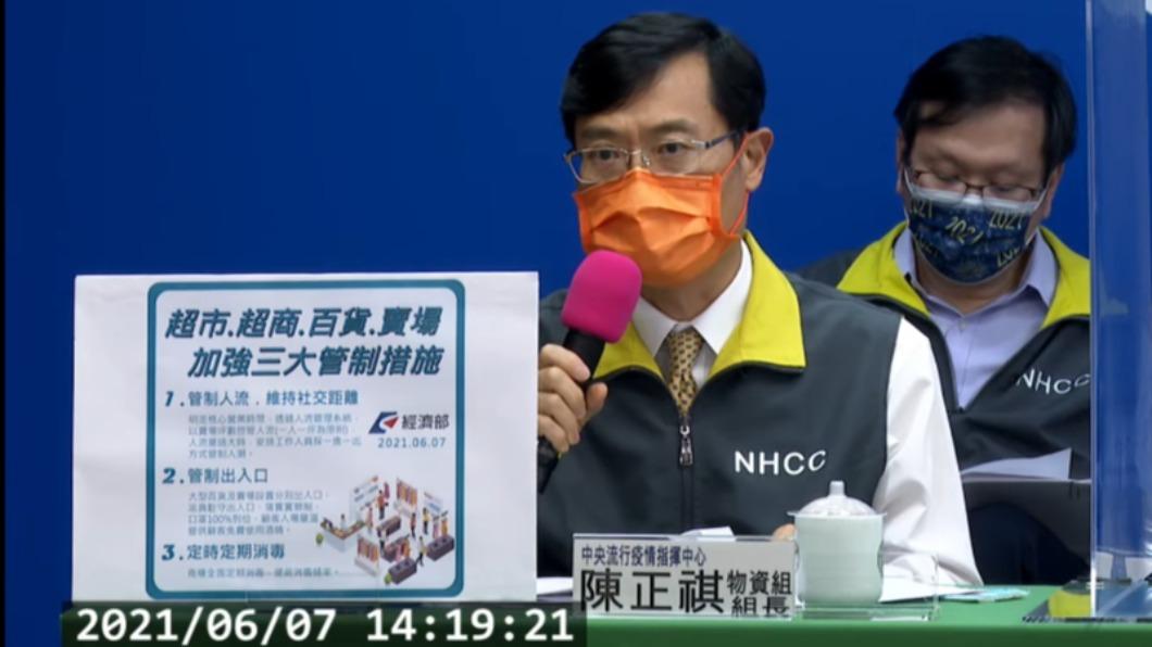 經濟部次長陳正祺宣布「超市、超商、百貨、賣場加強三大管制措施」。(圖/中央流行疫情指揮中心) 三級延長!指揮中心宣布「超商、賣場」加強三大管制措施
