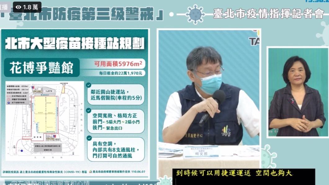 北市府規劃大型疫苗接種站。(圖/台北市政府提供) 觀察東南亞各國疫情 柯:泰國與台相似憂心「監獄感染」