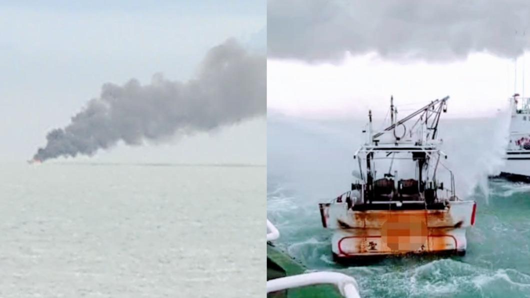 興達港外海發生火燒船事故。(合成圖/TVBS、翻攝自海巡署艦隊分署臉書) 突爆火燒船!興達港外海竄濃煙 3人逃船毀慘況曝