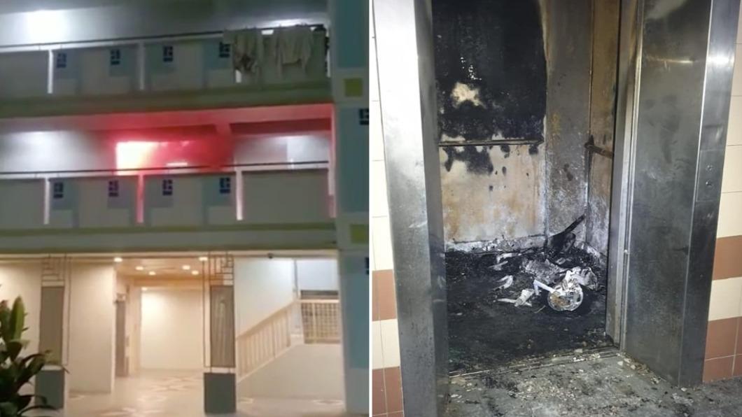 外送員在電梯內遭逢意外。(合成圖/翻攝自Fire Specialist Rescue Centre Singapore、Singapore Civil Defence Force臉書) 電梯內爆炸狂燒!星國外送員10秒遭奪命 變火人慘叫衝出