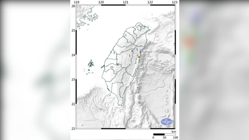 圖/中央氣象局 地牛翻身!06:42花蓮4.3地震 最大震度4級