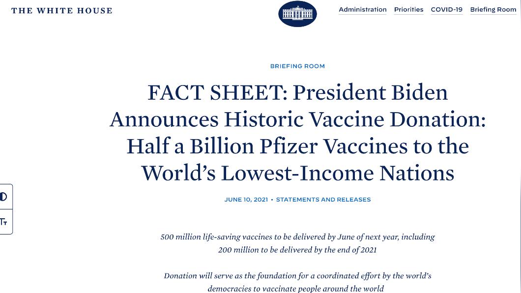 白宮官網10日刊出背景說明資料(Fact Sheet)宣布將捐5億劑輝瑞疫苗。(圖/翻攝自White House官網) 美國白宮宣布加碼捐「5億劑輝瑞疫苗」 最快8月出貨