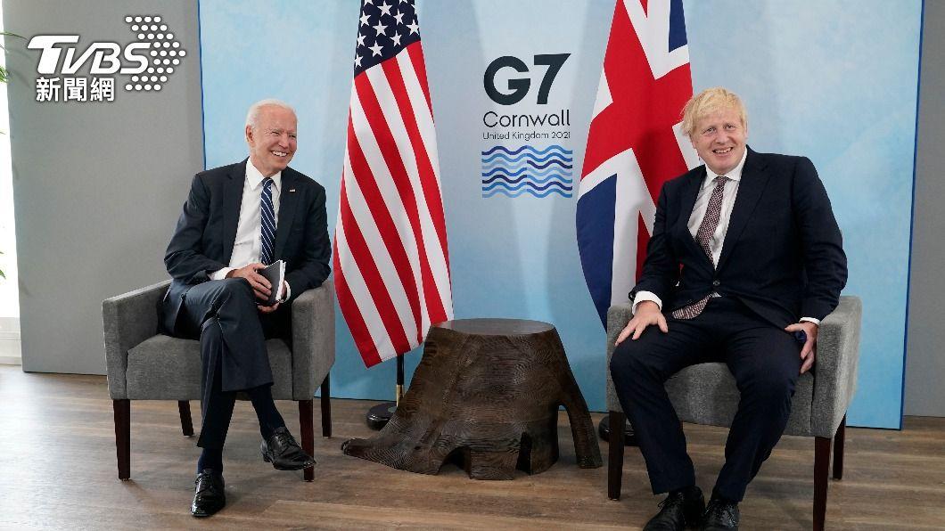 美總統拜登與英相強生會談。(圖/達志影像美聯社) 強生與拜登會談後 稱英美歐對北愛爾蘭和平立場相同