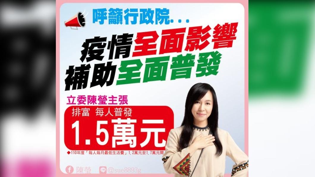 陳瑩呼籲政院應普發1.5萬。(圖/翻攝陳瑩臉書) 綠委要政院普發1.5萬 嗆「獻策者」不要關在辦公室想政策