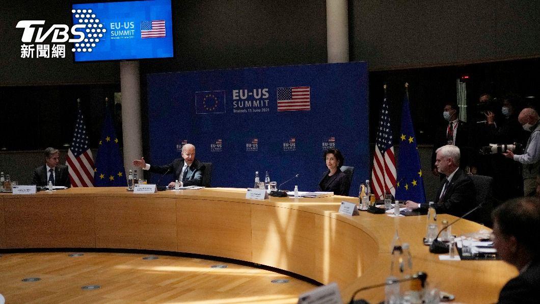 歐盟美國領袖峰會。(圖/達志影像美聯社) 歐盟美國領袖峰會公報 提台海和平重要性