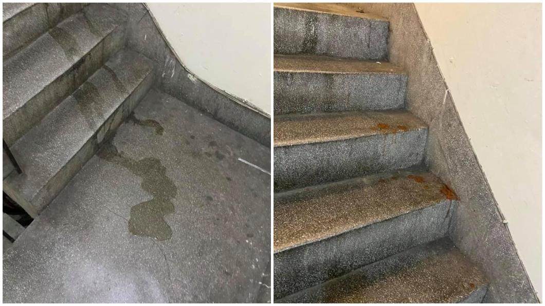 有民眾分享外送員送餐後在樓梯間小便和吐檳榔汁。(圖/翻攝自臉書社團「爆料公社(官方粉專專屬)」) 超扯外送員!樓梯間小便、吐檳榔 網轟噁:沒洗手繼續送