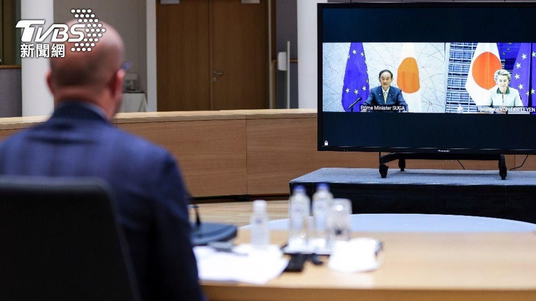 昨(27)日歐盟與日本首次召開領袖協商會議。(圖/達志影像 美聯社) 日本首相和歐盟首次領袖會議:一致認同台灣海峽安定的重要