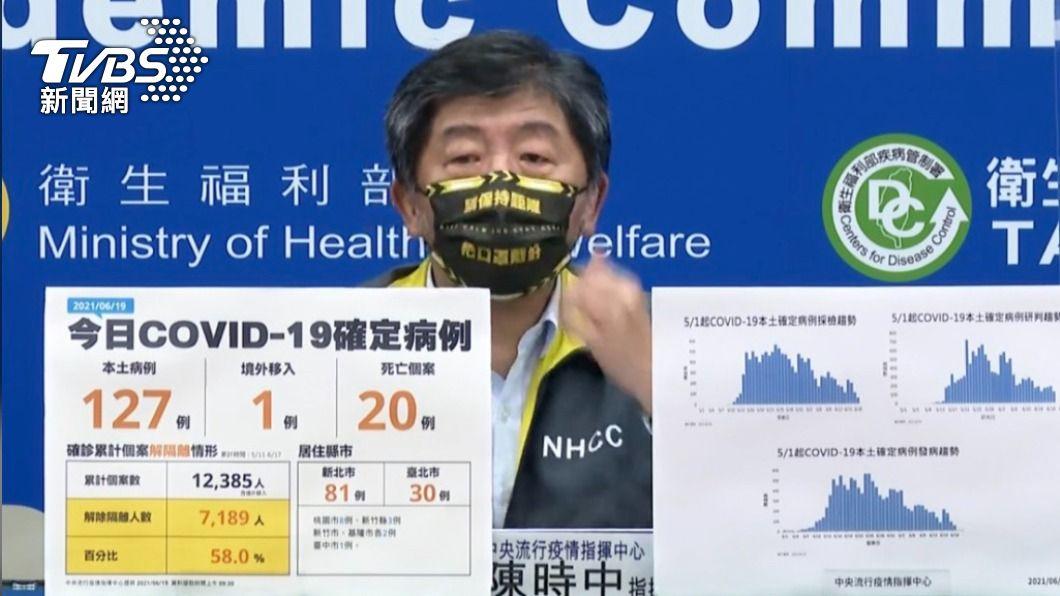 陳時中口罩意外吸引網友目光。(圖/TVBS) 戴「保持距離」口罩超吸睛 陳時中:有些太花俏不敢戴