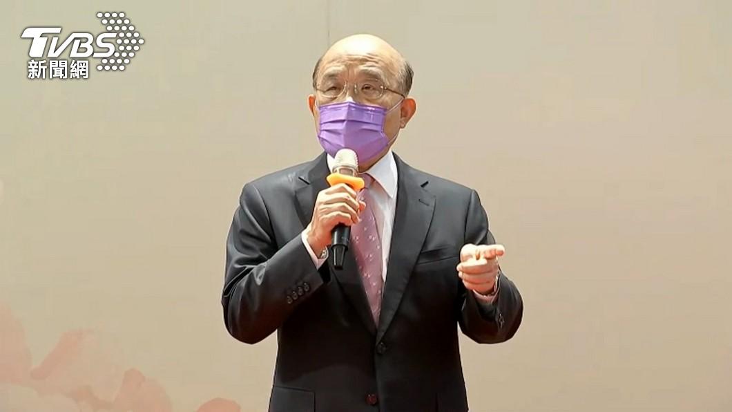 蘇貞昌以「颱風假」比喻微解封惹議。(圖/TVBS) 雞腿比疫苗「颱風假比微解封」 議員轟蘇揆:剩卸責的嘴