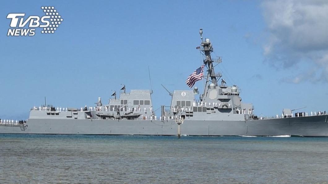 圖/TVBS資料畫面 美軍導彈驅逐艦昨再穿台海 拜登任内第6次