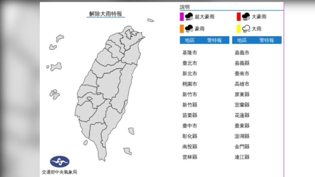 圖/中央氣象局 今降雨趨緩 但滯留鋒仍停留嚴防短時強降雨