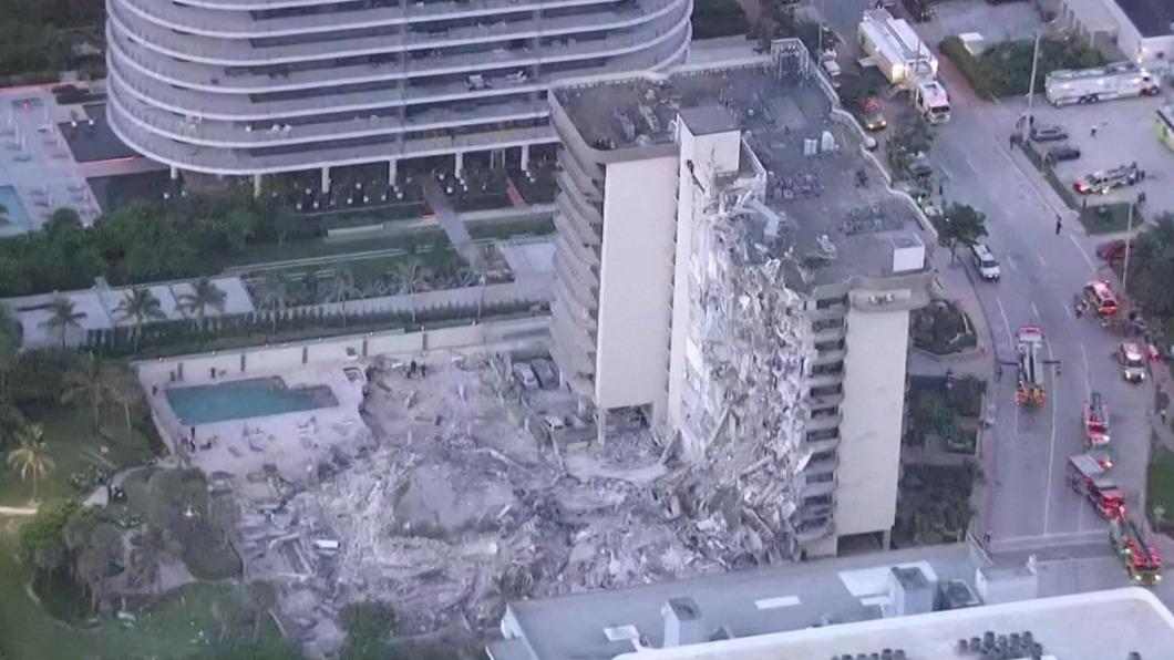 畫面來源/WPLG/LOCAL 10 美國佛州大樓倒塌51人下落不明 當局持續搜救
