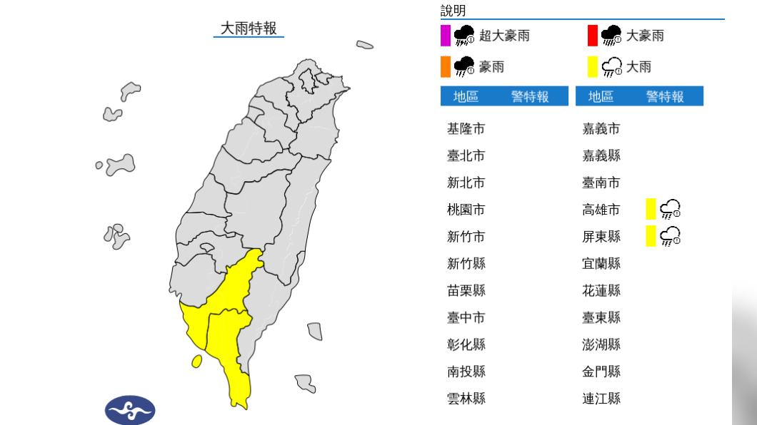 圖/中央氣象局 高雄屏東大雨特報 未來5天中南部防強降雨侵襲