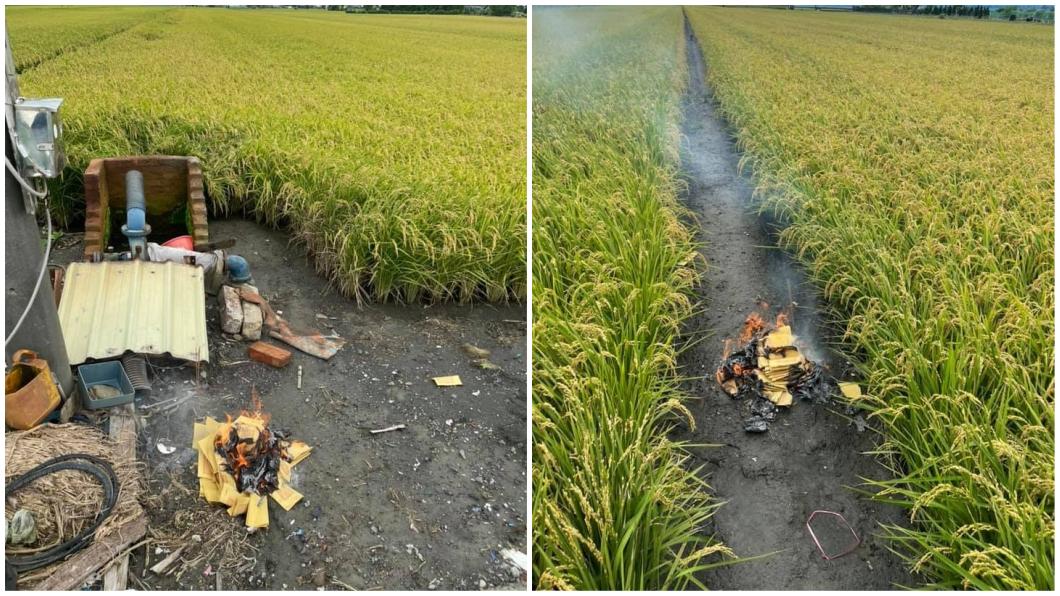 一名從事農業的網友分享每次收割前都會燒金紙。(圖/翻攝自爆廢公社公開版) 收割稻米前得「燒金紙」? 背後原因曝光網呼:長知識