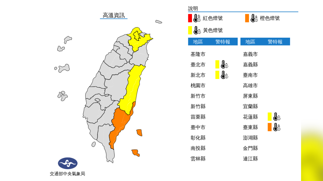 圖/中央氣象局 今中南部短暫雨 明進入典型夏季天氣 高溫午後雷雨