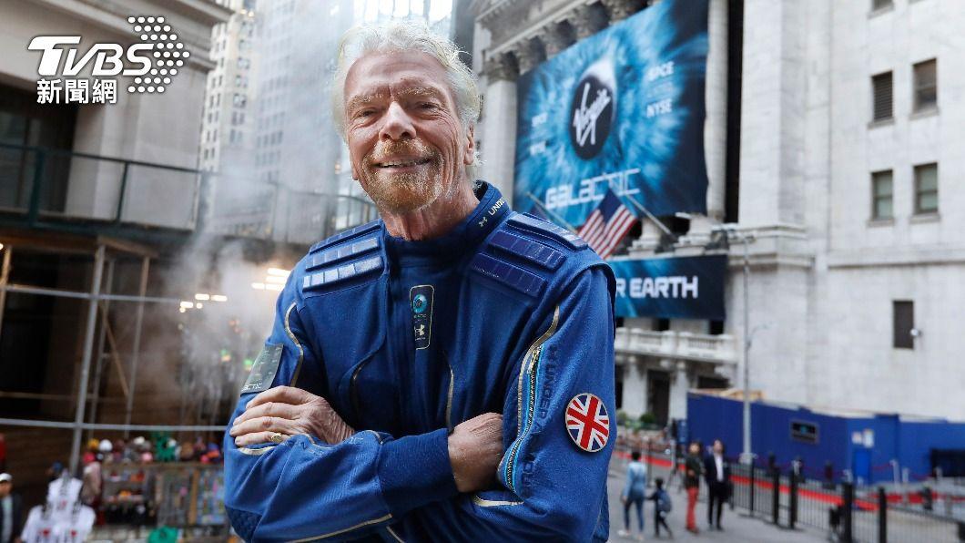維珍老闆布蘭森計劃11日上太空。(圖/達志影像美聯社) 維珍老闆布蘭森搶快 要比貝佐斯早一步上太空