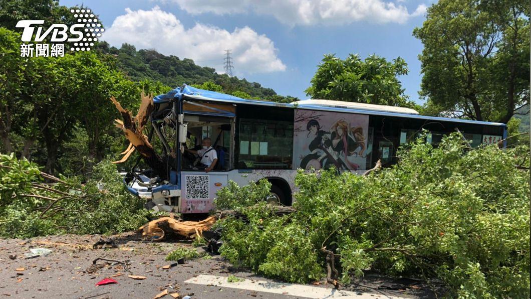 公車衝撞路樹。(圖/TVBS) 公車連撞轎車後失控 運將再衝撞路樹釀6人傷