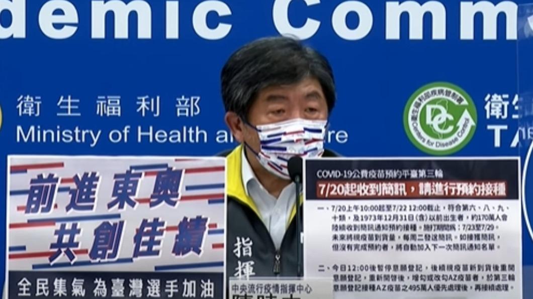 中央疫情指揮中心指揮官陳時中。(圖/指揮中心提供) 27日疫苗預約開放年齡層 陳時中下午記者會說明