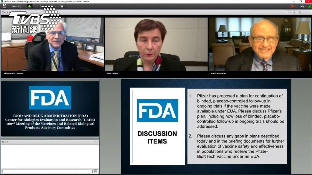 美國FDA審查輝瑞BNT疫苗緊急使用授權時在線上直播。(圖/翻攝U.S. Food and Drug Administration YouTube) 陳時中稱錄影侵害專家權益 反觀美FDA審輝瑞全程直播8小時