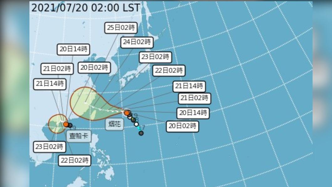 圖/中央氣象局 烟花恐增強為中颱 週四接近北部海面 週六影響最鉅