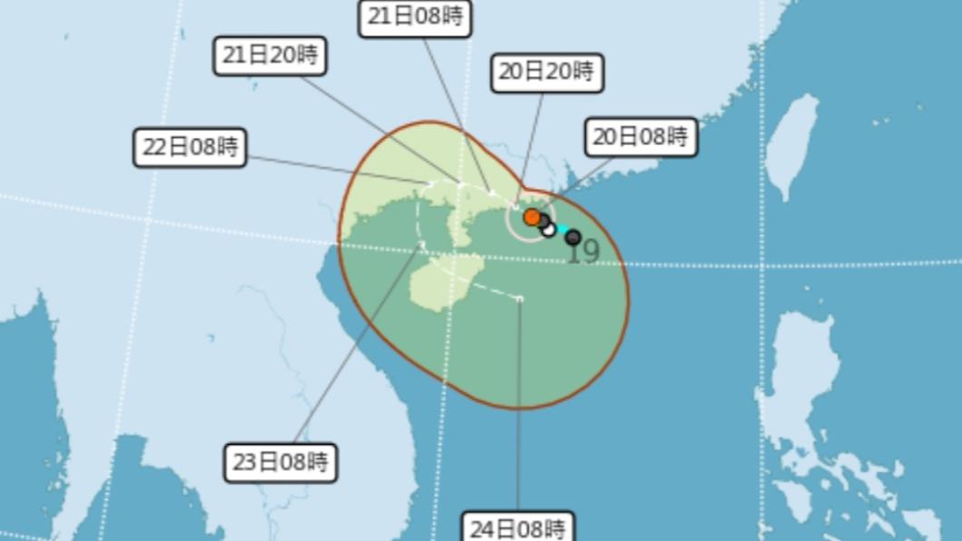 中度颱風「查帕卡」路徑預測。(圖/中央氣象局) 雙颱夾擊!「查帕卡」增強為中颱 最新路徑圖曝光