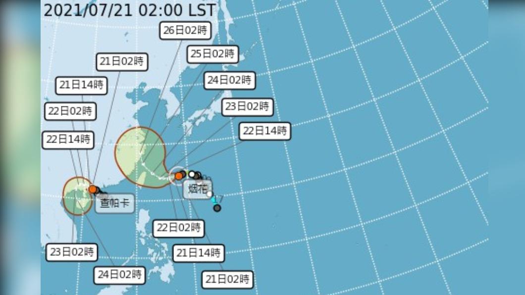 圖/中央氣象局 颱風烟花增強為中颱 路徑往北修正 最快上午發海警