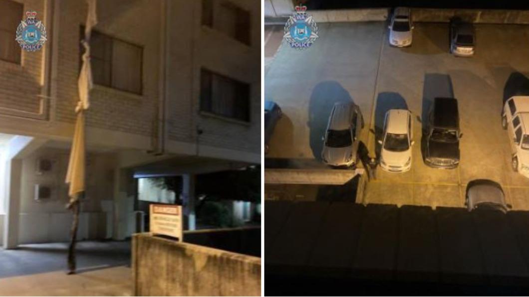澳洲一名男子自製床單繩索自隔離酒店逃脫。(圖/翻攝自Western Australia Police Force 臉書) 途中逃跑! 澳洲男「自製床單繩索垂降」逃隔離遭逮