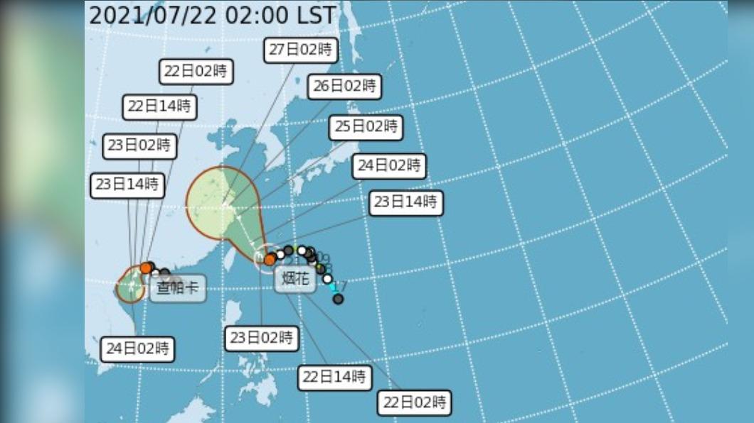 圖/中央氣象局 中颱烟花龜速逼近!週五最接近台慎防強降雨